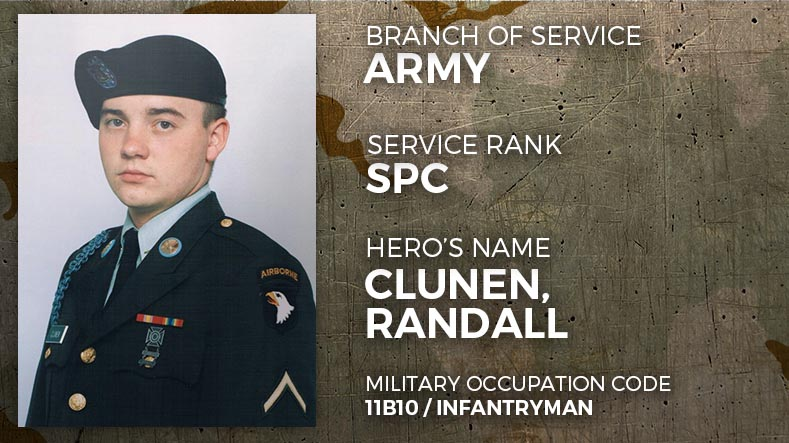 Army Specialist Randall Clunen