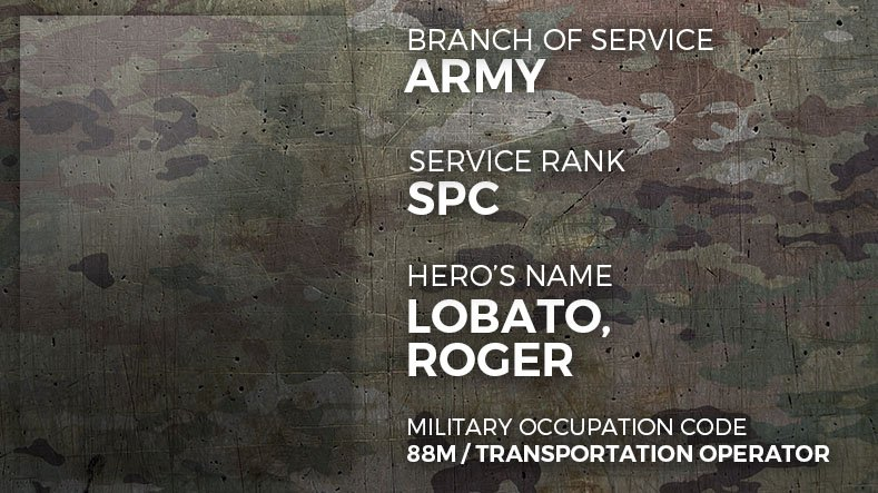 Army Specialist Roger Lobato
